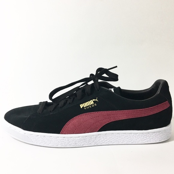huge discount 1fddd 08a6f NEW Puma Suede Classic Sneakers Black Burgundy